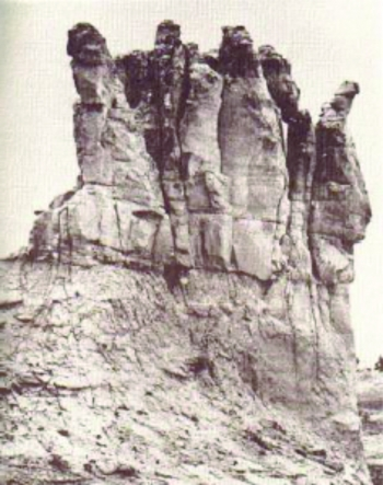 Early Photograph of the Teapot Dome, at the time resembling a teapot shape -- where it got its name.