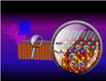 Researchers use extreme ultraviolet pulses (fuchsia line) to determine how visible light (blue line) causes interfacial hole (h+) transfer from iron oxide (Fe2O3) to nickel oxide (NiO), a hole collection layer found in hybrid perovskite solar cells.