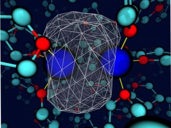 The surrounding tetrahydrofuran solvent deforms the bonding electron density around a sodium solute. The sodium cores are blue spheres; the valence electrons' density is represented as a transparent white surface.