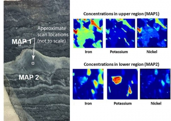 Researchers collected X-ray images from rock samples (left) showing the element distribution. The chemical maps (right) reveal fine-scale chemical and mineralogical variations that weren't captured in previously published analyses.