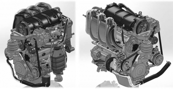Adjacent computer-assisted design models of the Pinnacle Engines opposed-piston gasoline engine.