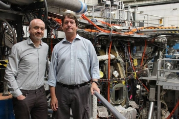 A team working at the DIII-D National Fusion Facility discovered that external 3-D magnetic fields drive strong distortions in high-pressure plasmas that help suppress bursts of heat in fusion reactors.