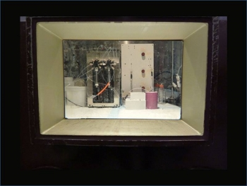Prototype fluidic system for zirconium-89 purification. Image taken through a hot cell window at the Department of Radiology, University of Washington.