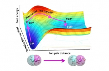 The separation of lithium fluoride (Li and F) ion pairs involves two stages: (1) an increase of the water coordination about the contact ion pairs, CIP to CIP* and (2) spatial separation of the CIP* to solvent-separated ion pairs, SSIP*.