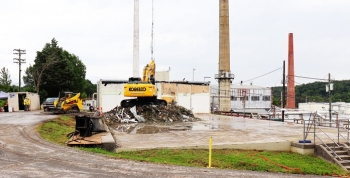 Demolition of the west end of Building 3017 is complete. This month, workers will finish refurbishing the facility's east end with a new entrance so normal operations can resume there.