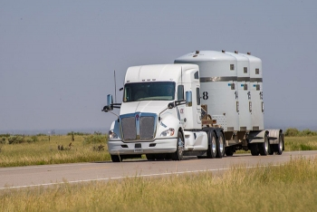A shipment of transuranic waste approaches EM's Waste Isolation Pilot Plant near Carlsbad, New Mexico.