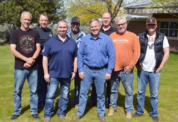 The Hanford Atomic Metal Trades Council team of safety specialists includes, from left, Gregg Doss, Don King, Jason Green, Pete Graham, Ron Galpin, Don Slaugh, Brian Ivy, and John Peoples.