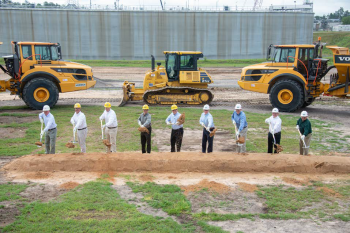 Savannah River Site officials break ground on Saltstone Disposal Units 8 and 9. From left Joseph Hughes, BK All American Company Project Manager; Jim McNulty; SRR SDU Construction Manager; Brandon Witt; SRR Construction Manager; Jon Lunn, SRR SDU Program