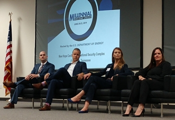 From left, Tommy Morgan of UCOR, Spencer Cline of the Tennessee Valley Authority, Megan Houchin of Consolidated Nuclear Security, and Carmen Bigles of Coqui RadioPharmaceuticals Corp. serve on a panel at the Millennial Nuclear Caucus in Oak Ridge in June.