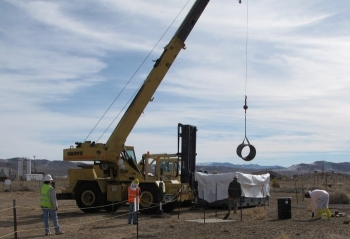 EM crews remove debris from a contaminated soils location in Area 3 at the Nevada National Security Site.
