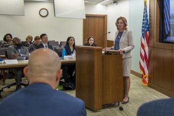 NNSA Administrator Lisa E. Gordon-Hagerty addresses the MLDP graduation.
