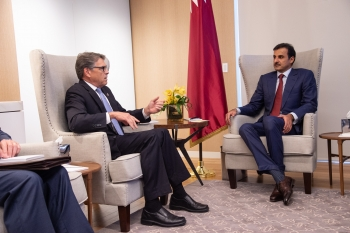 Secretary Perry with His Highness Sheikh Tamim Bin Hamad Al-Thani, Amir of the State of Qatar