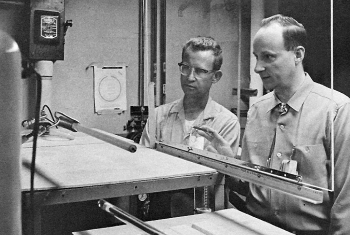 George Erickson (right) and fellow researcher Ed Keddy observe a heat pipe at Los Alamos National Laboratory in the late 1960s.