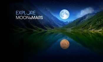 """Art for NASA's """"Moon to Mars"""" mission depicting the Moon above a mountain lake, with Mars reflected in the water."""