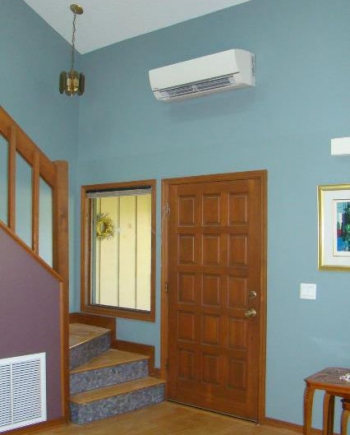 Photo of the interior of a home with a mini-split heat pump.