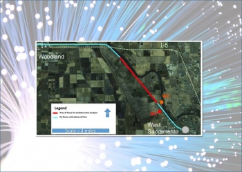 Researchers ran their seismic sensor experiments on a 20-mile segment of the 13,000-mile-long ESnet Dark Fiber Testbed. The red section is the area of focus for ambient noise analysis; the blue section is collinear with an active rail line.