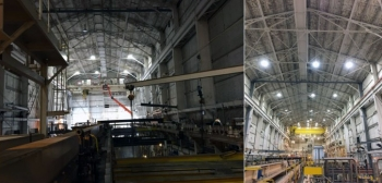 The Savannah River Site's 717-F building shown before and after lighting renovations.