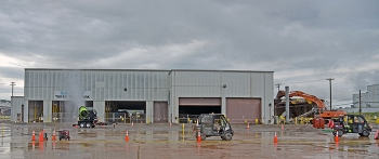 Demolition began on the 30,000-square-foot K-1423 Toll Enrichment Facility earlier this month.