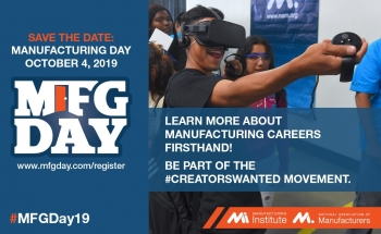 """Save the date - Manufacturing day Oct, 4, 2019."" Aside from this text, there is a woman wearing a VR headset."