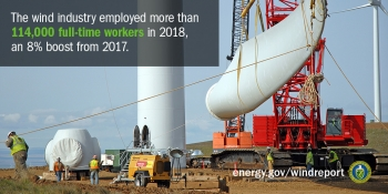 Several workers in yellow safety vests and white hard work with heavy machinery to prep a wind turbine blade.