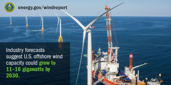 A platform is situated near an offshore wind turbine on a clear day.