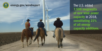 Three men riding horses in the foreground saunter down a dirt road towards wind turbines in the background.