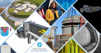 A collection of photos that highlights the successes by DOE in supporting the development of advanced nuclear energy.