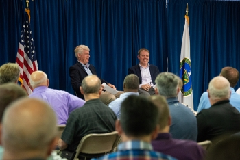 Ike White, right, Senior Advisor for EM, engages DOE-Savannah River employees at a meeting after touring Savannah River Site (SRS) liquid waste facilities. Also pictured is SRS Manager Mike Budney.