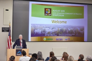Dr. Charles Verdon delivering the keynote address at the Third Annual Cost Estimating Community of Practice Symposium at Lawrence Livermore National Laboratory in August.