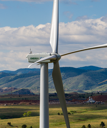 Aerial photo of a horizontal wind turbine at the National Wind Technology Center (NWTC) in Colorado.