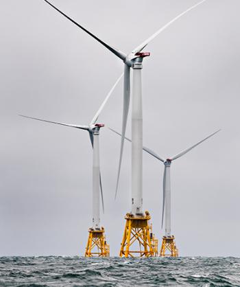 Heavy seas engulf the Block Island Wind Farm.