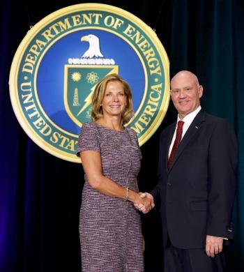 Photo of NNSA Administrator Lisa E. Gordon-Hagerty and OSDBU Director Charlie Smith