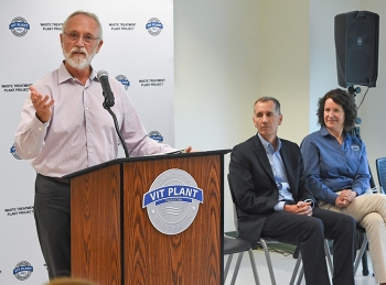 U.S. Rep. Dan Newhouse of Washington state speaks during the opening of the Hanford Low-Activity Waste Annex Operations Center Aug. 19.