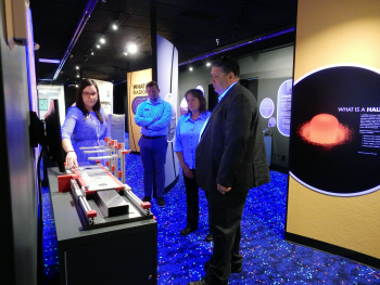 Carmelo Melendez visiting an exhibit at the Mound Cold War Discovery Center, Mound, Ohio.