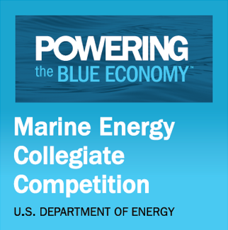 "Blue logo that says ""U.S. Department of Energy Marine Energy Collegiate Competition: Powering the Blue Economy"""
