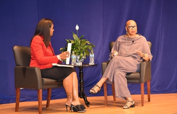 Moderator Renee Kesler, left, speaks to Pat Harris, retired chief global diversity officer for McDonald's Corp., during the Small Business Diversity Summit.