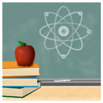 Graphic of a chalkboard with a nuclear symbol on it, and a table in front of it with a stack of books and an apple.