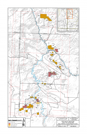 Uranium Lease Tracts Location Map