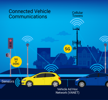 Illustration shows connected vehicle communications.