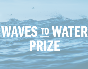 "prize logo that says ""waves to water prize"""