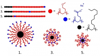The position of a charged monomer (blue dots) along a polymer chain impacts the final structures (structures 1, 3, and 5 from the sequence library) following assembly into micelles (bottom).