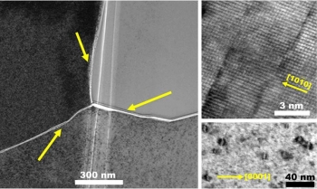 Atomic scale views of irradiation-induced defects in titanium diboride after irradiation at ~200 degrees Celsius.