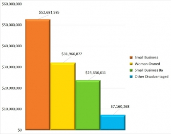 Bar chart showing the dollar amounts allocated to type of small business.