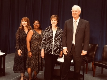 From left, former EM Assistant Secretaries Ines Triay, Jessie Roberson, Carolyn Huntoon and Thomas Grumbly attended the 30th anniversary celebration.