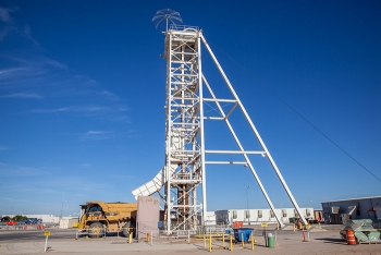 A view of the Waste Isolation Pilot Plant salt hoist, which will receive an upgrade as part of continuous improvements at the site.