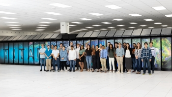 The NCCS/OLCF 2019 interns shown in front of Titan before it was decommissioned in August.