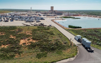 A shipment of defense-generated transuranic waste arrives at the WIPP repository for emplacement in an ancient salt formation 2,150 feet underground.