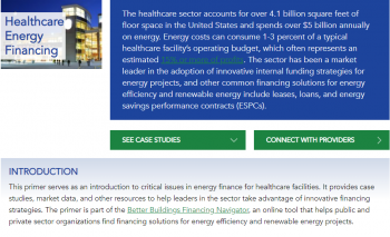 Infographic: A snapshot of the Better Buildings Financing Navigator's newly released Healthcare Financing Primer.