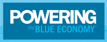 "Logo saying ""Powering the Blue Economy"""