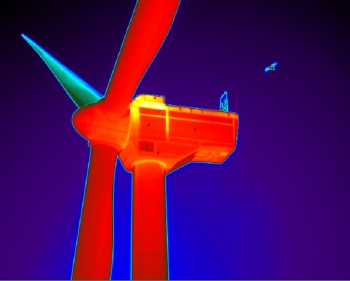 thermal view of a wind turbine and wildlife.